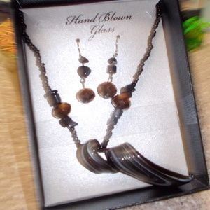 Hand Blown Glass Necklace and Earring Set